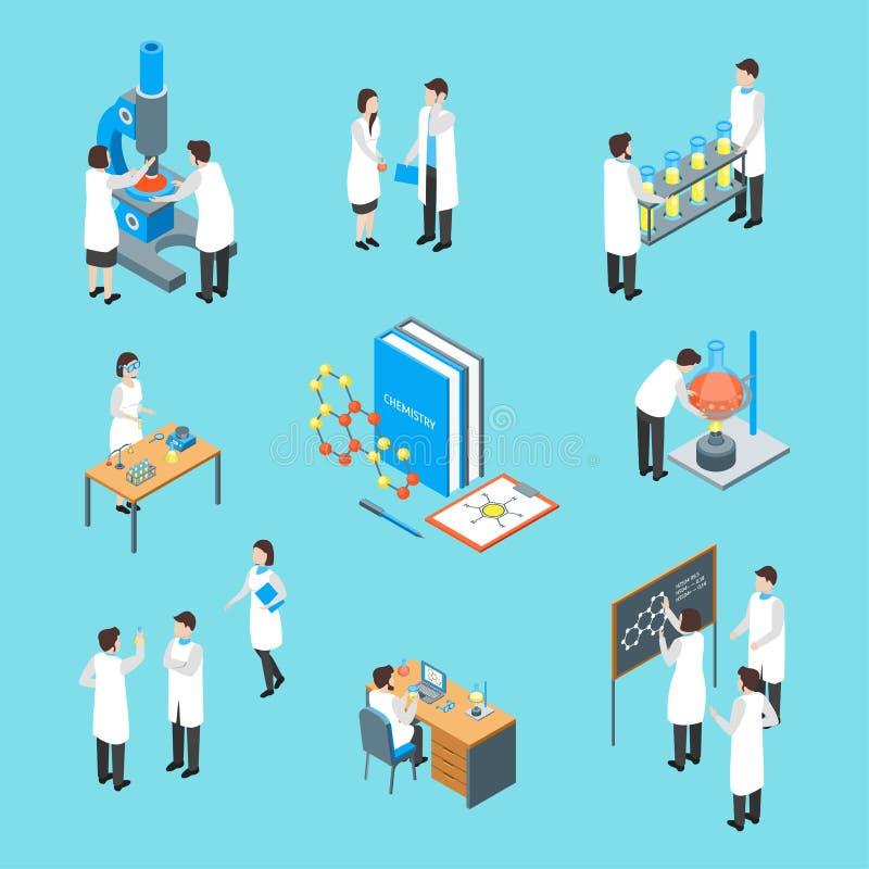 Τα χημικά φαρμακευτικά τρισδιάστατα εικονίδια επιστήμης καθορισμένα τη Isometric άποψη διάνυσμα απεικόνιση αποθεμάτων