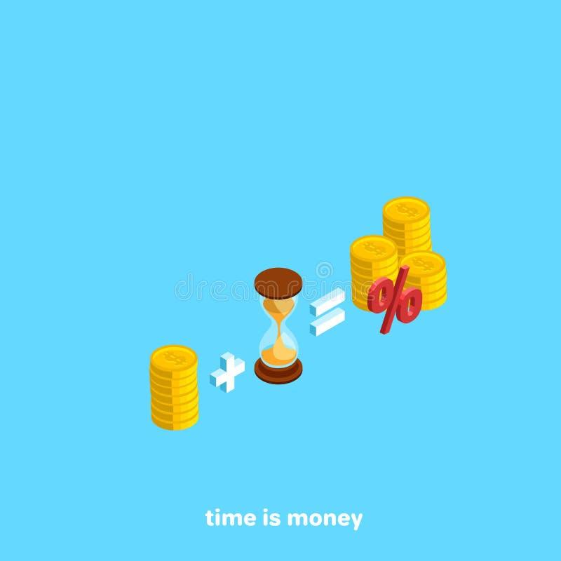 Τα χρήματα συν το χρόνο είναι ίσα με το ενδιαφέρον απεικόνιση αποθεμάτων