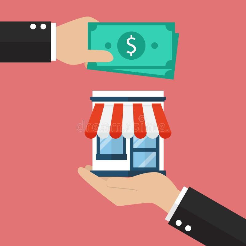 Τα χρήματα χρήσης επιχειρηματιών αγοράζουν την επιχείρηση διανυσματική απεικόνιση