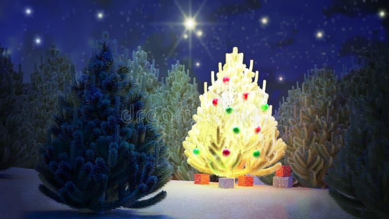Τα Χριστούγεννα, δέντρο, φως, χρώμα, διακοπές, Santa, νύχτα, αστέρια, έλατο, Alba, παρόν, δώρο, εορτασμός, διακόσμηση, βολβός, bo διανυσματική απεικόνιση