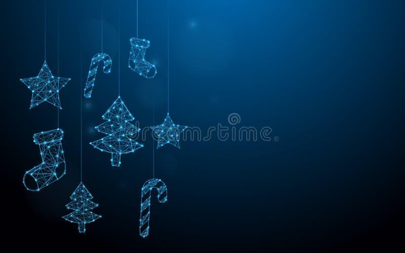Τα Χριστούγεννα διακοσμούν τις κρεμώντας γραμμές μορφής, τα τρίγωνα και το σχέδιο ύφους μορίων απεικόνιση αποθεμάτων
