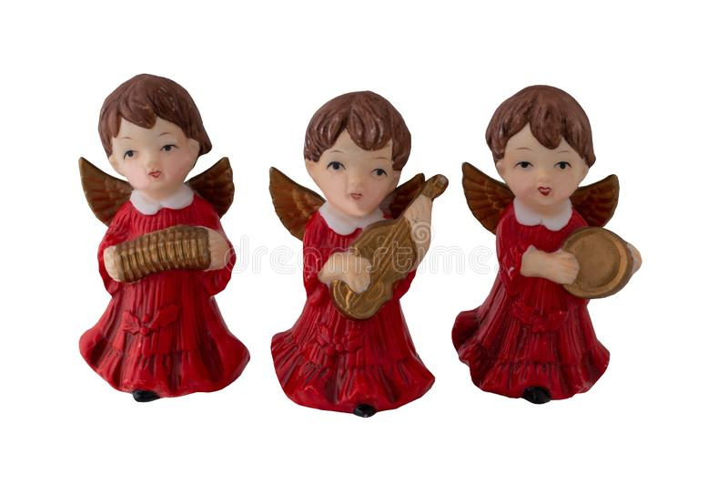 τα Χριστούγεννα διακοσμούν τις φρέσκες βασικές ιδέες διακοσμήσεων Τρεις όμορφοι παλαιοί άγγελοι Χριστουγέννων που γίνονται στοκ φωτογραφία με δικαίωμα ελεύθερης χρήσης