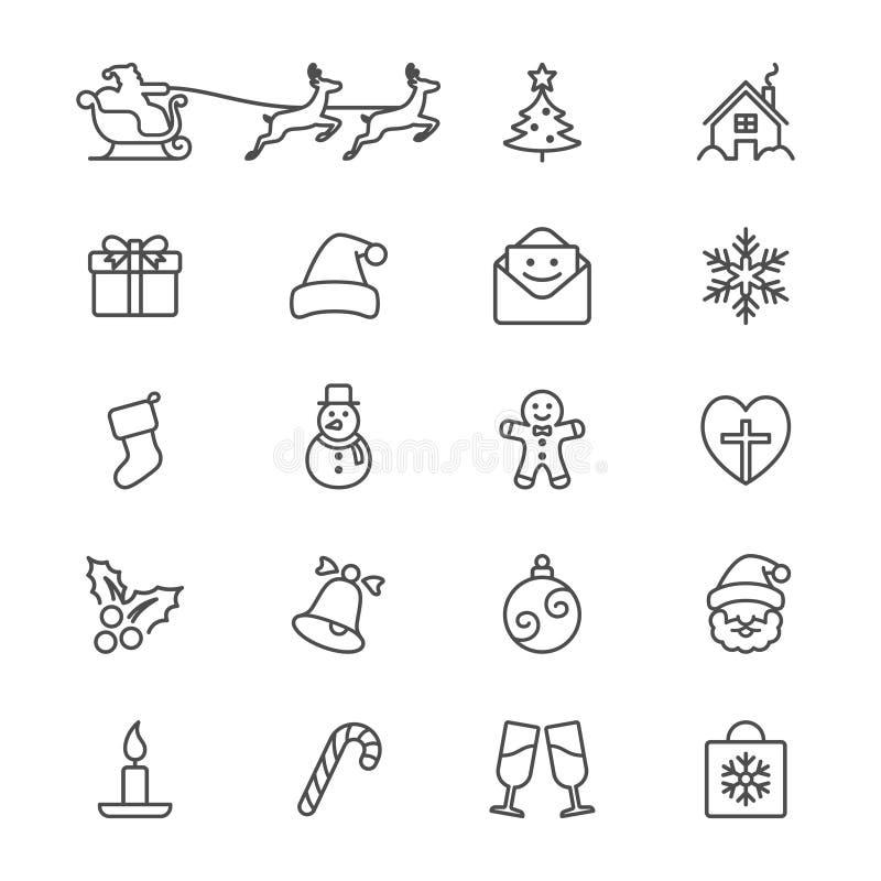Τα Χριστούγεννα λεπταίνουν τα εικονίδια απεικόνιση αποθεμάτων