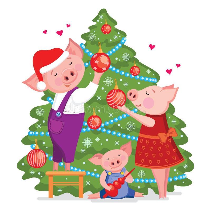 Τα Χριστούγεννα και η κάρτα καλής χρονιάς με τη χαριτωμένη καλή οικογένεια των χοίρων διακοσμούν ένα χριστουγεννιάτικο δέντρο Δια ελεύθερη απεικόνιση δικαιώματος