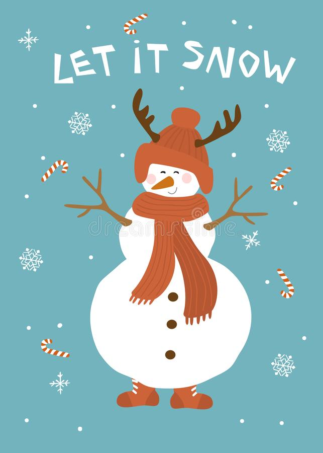 Τα Χριστούγεννα το άφησαν να χιονίσει ευχετήρια κάρτα με το χαριτωμένο χιονάνθρωπο πέρα από την μπλε διανυσματική απεικόνιση υποβ διανυσματική απεικόνιση
