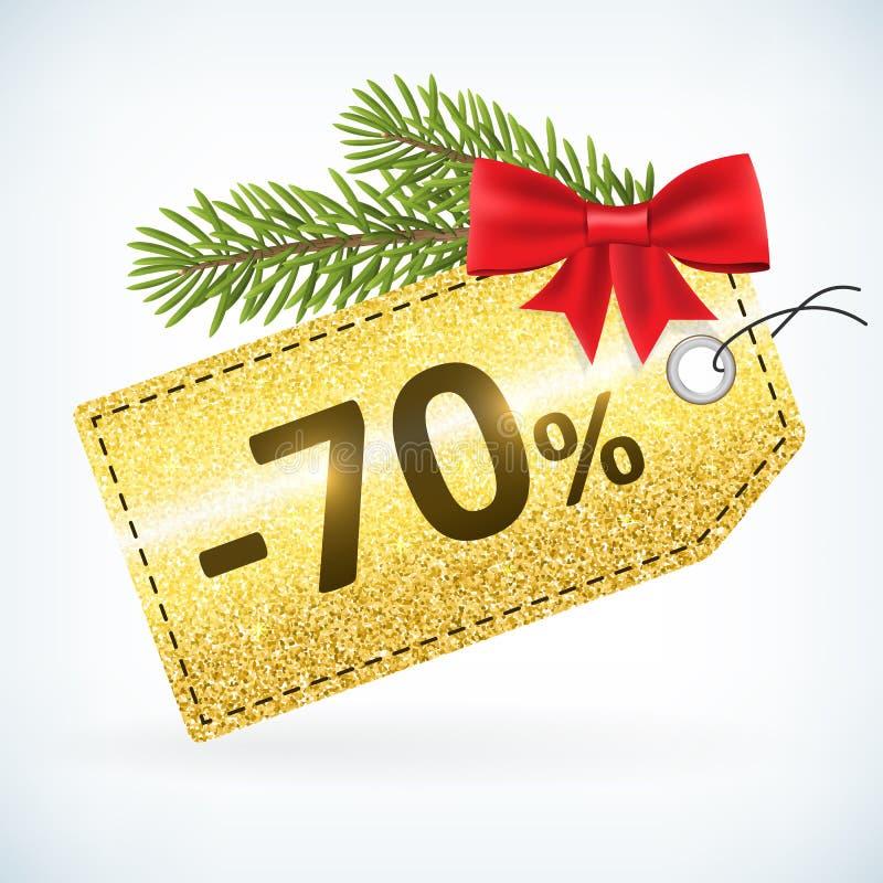 Τα Χριστούγεννα χρυσά ακτινοβολούν ετικέτα πώλησης τοις εκατό -70 διανυσματική απεικόνιση