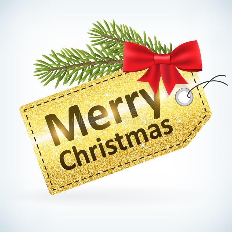Τα Χριστούγεννα χρυσά ακτινοβολούν ετικέτα Χαρούμενα Χριστούγεννας απεικόνιση αποθεμάτων