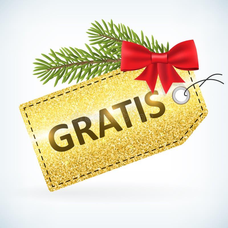 Τα Χριστούγεννα χρυσά ακτινοβολούν δωρεάν ετικέτα επιχειρησιακής πώλησης διανυσματική απεικόνιση