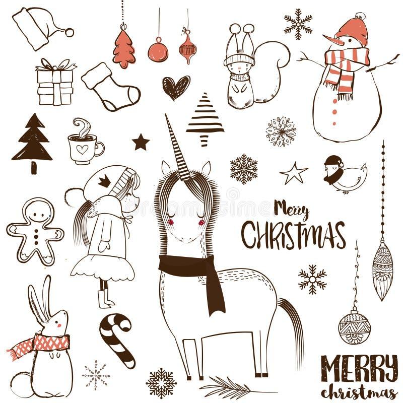 Τα Χριστούγεννα doodle έθεσαν ελεύθερη απεικόνιση δικαιώματος
