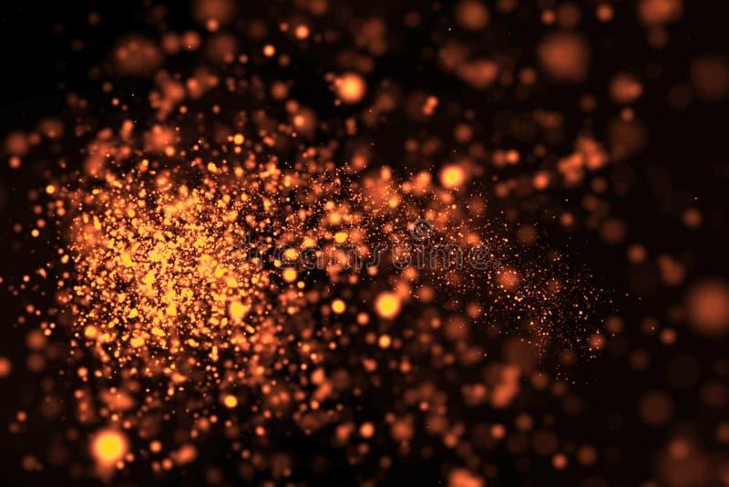Τα χρυσά ακτινοβολώντας μόρια πυράκτωσης bokeh παρακολουθούν την επίδραση σπινθηρίσματος μετάβασης στο μαύρο υπόβαθρο, διακοπές κ στοκ φωτογραφίες