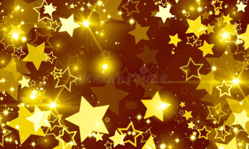 Τα χρυσά αστέρια, ακτινοβολούν, πυράκτωση, ελαφρύς, φωτεινή, διακοπές, κόμμα, Χριστούγεννα, φεστιβάλ μουσικής, διασπορά των αστερ απεικόνιση αποθεμάτων