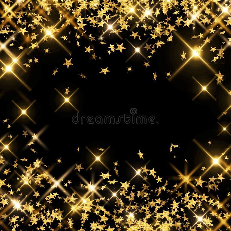 Τα χρυσά αστέρια στο μαύρο υπόβαθρο, μειωμένα αστέρια, βροχή των αστεριών, πηγαίνουν ελεύθερη απεικόνιση δικαιώματος