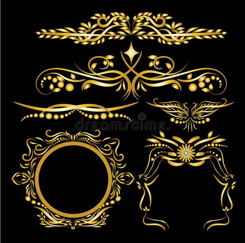 Τα χρυσά εκλεκτής ποιότητας στοιχεία διακοσμήσεων χρώματος ακμάζουν το καλλιγραφικό μαύρο υπόβαθρο διακοσμήσεων και πλαισίων διανυσματική απεικόνιση