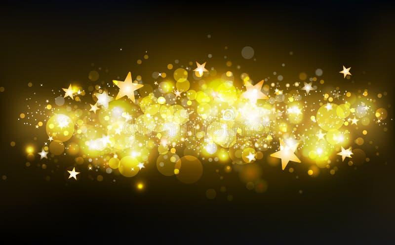 Τα χρυσά μαγικά αστέρια πυροβολισμού, διακόσμηση, κομφετί κινήσεων αστεριών, σκόνη, μουτζουρωμένη διασπορά μορίων πυράκτωσης ακτι διανυσματική απεικόνιση