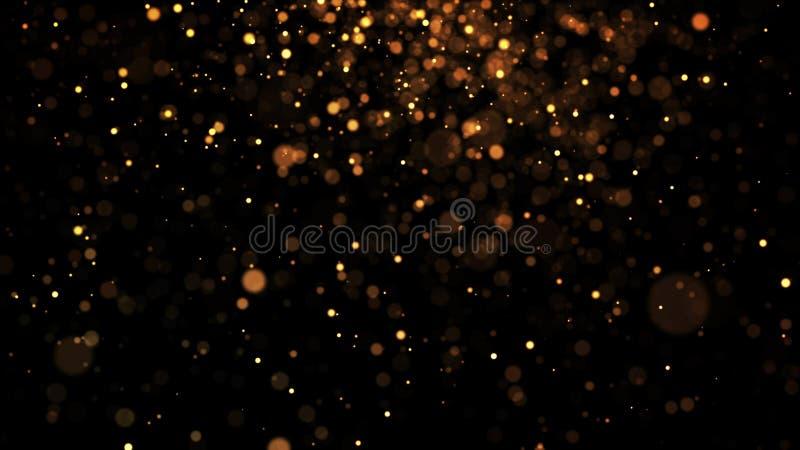 Τα χρυσά μόρια αστράφτουν στον αέρα, τα χρυσά σπινθηρίσματα σε ένα ιξώδες ρευστό έχουν την επίδραση του μετατόπισης με το βάθος τ στοκ εικόνες με δικαίωμα ελεύθερης χρήσης