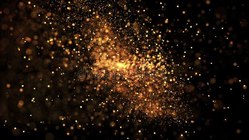 Τα χρυσά μόρια αστράφτουν στον αέρα, τα χρυσά σπινθηρίσματα σε ένα ιξώδες ρευστό έχουν την επίδραση του μετατόπισης με το βάθος τ στοκ φωτογραφίες με δικαίωμα ελεύθερης χρήσης