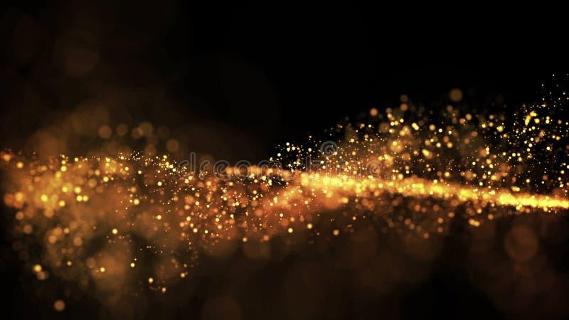 Τα χρυσά μόρια αστράφτουν στον αέρα, τα χρυσά σπινθηρίσματα σε ένα ιξώδες ρευστό έχουν την επίδραση του μετατόπισης με το βάθος τ στοκ εικόνα