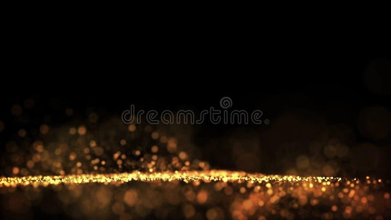 Τα χρυσά μόρια αστράφτουν στον αέρα, τα χρυσά σπινθηρίσματα σε ένα ιξώδες ρευστό έχουν την επίδραση του μετατόπισης με το βάθος τ στοκ φωτογραφία με δικαίωμα ελεύθερης χρήσης
