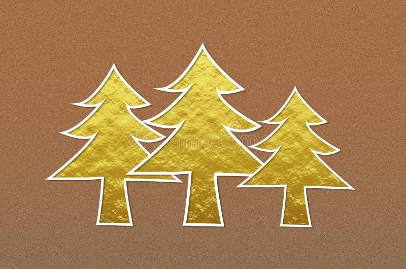 Τα χρυσά χριστουγεννιάτικα δέντρα καφετή σε μεταλλικό ακτινοβολούν υπόβαθρο διανυσματική απεικόνιση