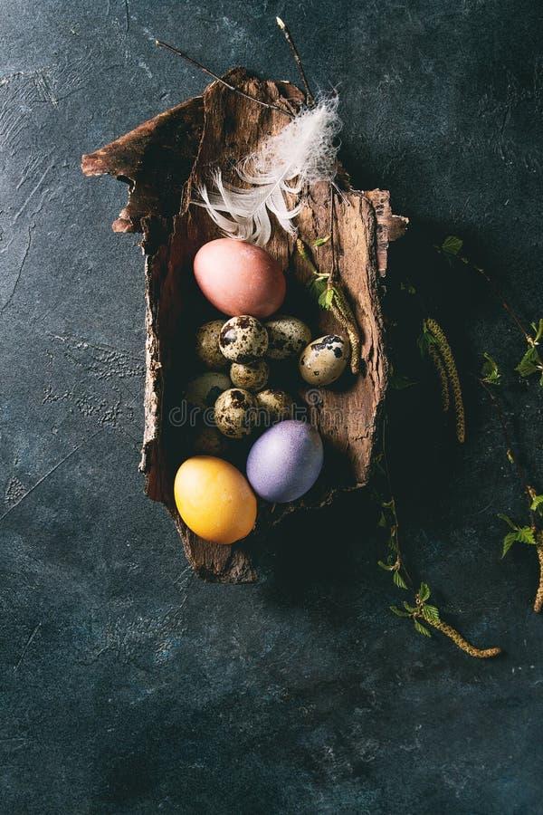 Αυγά Πάσχας ορτυκιών στη φωλιά στοκ εικόνες