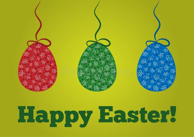 Τα χρωματισμένα αυγά Πάσχας με ένα σχέδιο κρέμασαν σε ένα σχοινί με ένα τόξο ελεύθερη απεικόνιση δικαιώματος