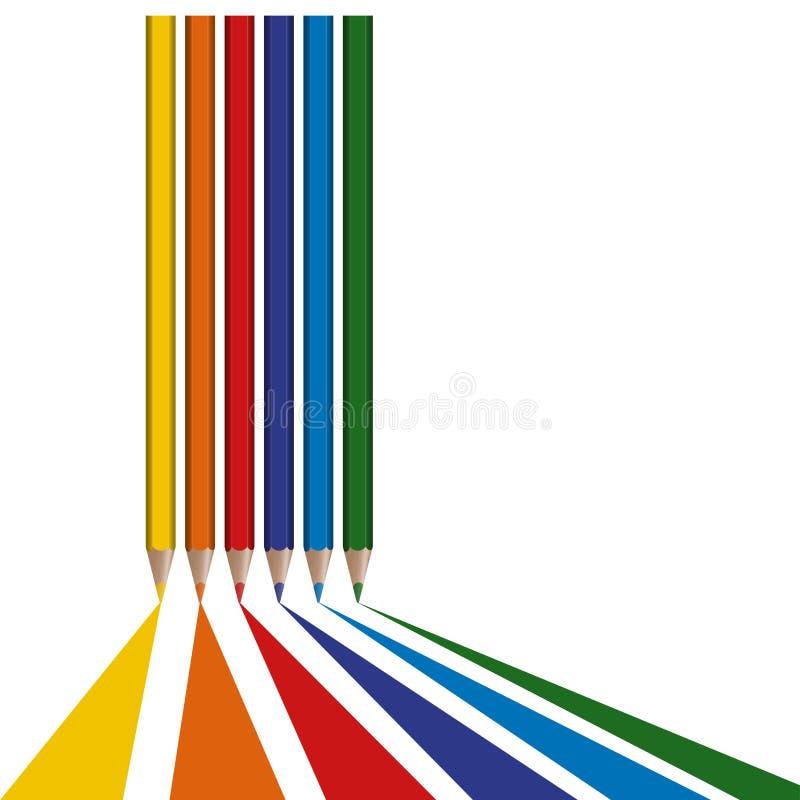 τα χρωματισμένα μολύβια σύρουν τις γραμμές ελεύθερη απεικόνιση δικαιώματος