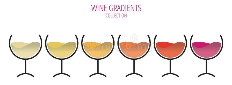 Τα χρώματα του κρασιού - σύνολο γυαλιών σε μια σειρά ελεύθερη απεικόνιση δικαιώματος