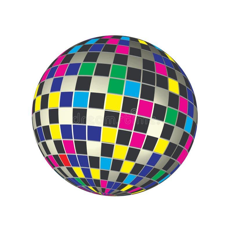 Τα χρώματα τρισδιάστατα δίνουν την παγκόσμια σφαίρα μωσαϊκών τετραγώνων φάσματος τη διανυσματική απεικόνιση υποβάθρου συμβόλων διανυσματική απεικόνιση