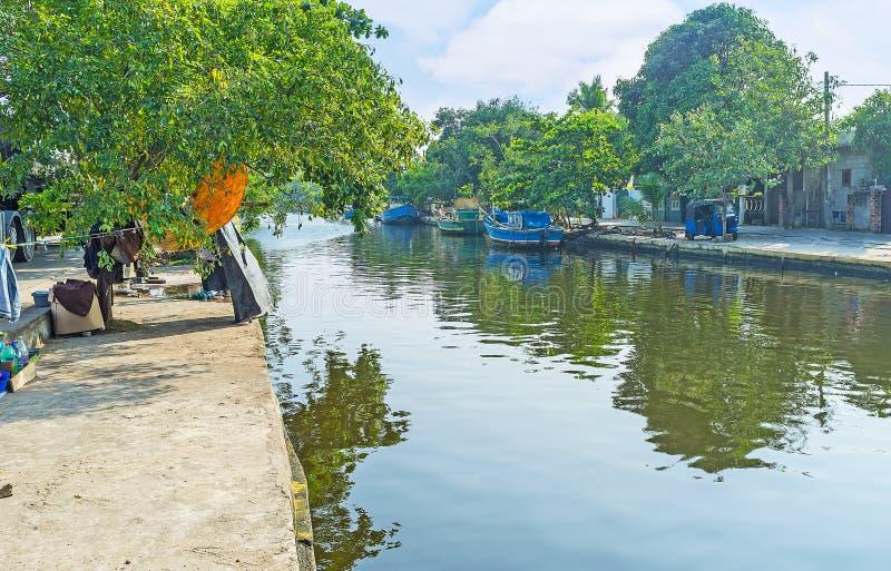 Τα χωριά στο κανάλι του Χάμιλτον ` s, Σρι Λάνκα στοκ εικόνες με δικαίωμα ελεύθερης χρήσης