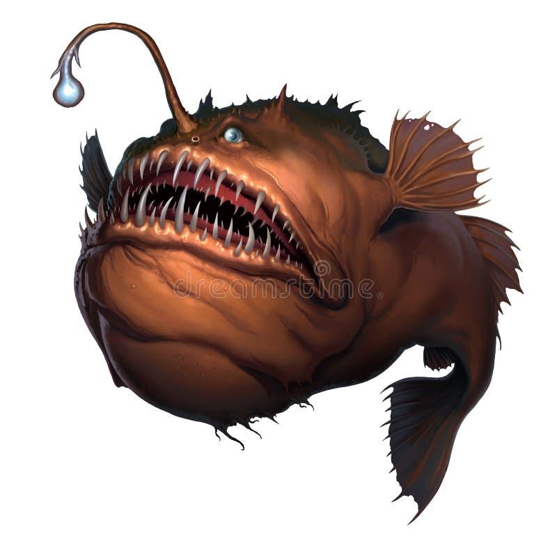 Τα ψάρια ψαράδων στην άσπρη ρεαλιστική απεικόνιση υποβάθρου απομονώνουν διανυσματική απεικόνιση