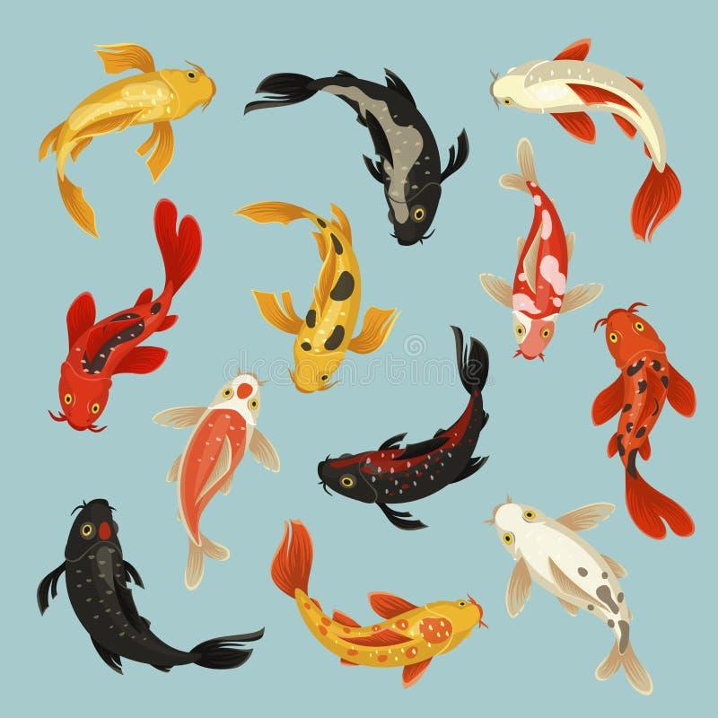 Τα ψάρια Koi όμορφα κολυμπούν το ασιατικό σχέδιο σχεδίων ελεύθερη απεικόνιση δικαιώματος