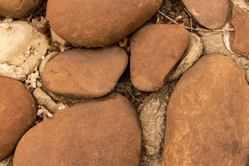 Τα ωοειδή καφετιά μέρη πετρών πορειών κήπων της φυσικής κινηματογράφησης σε πρώτο πλάνο ντεκόρ κυβόλινθων βασίζουν το ομαλό υπόβα στοκ εικόνες