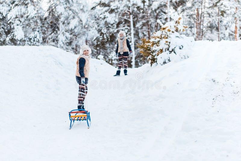 Τα όμορφα έφηβη ζευγαρώνουν τις αδελφές που οδηγούν το έλκηθρο και που έχουν τη διασκέδαση έξω σε ένα ξύλο με το χιόνι Έννοια φιλ στοκ φωτογραφία με δικαίωμα ελεύθερης χρήσης