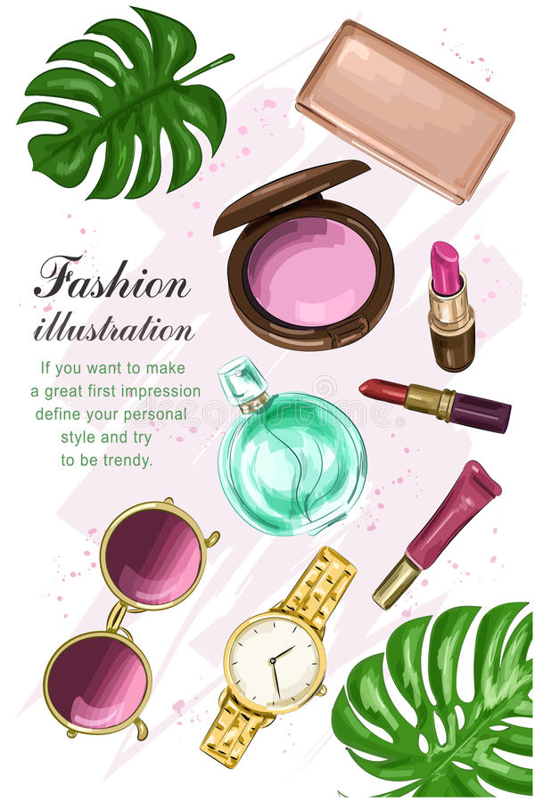 Τα όμορφα καλλυντικά που τίθενται με τα κραγιόν, κοκκινίζουν, άρωμα, πορτοφόλι, γυαλιά ηλίου και ρολόι Συρμένο χέρι σύνολο μόδας  διανυσματική απεικόνιση