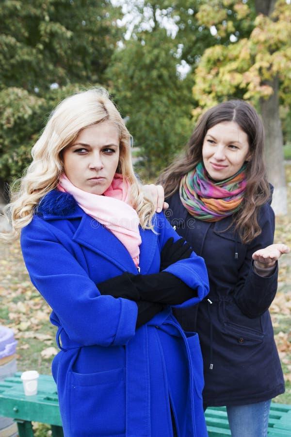 Τα όμορφα κορίτσια έχουν μια σύγκρουση στοκ φωτογραφία με δικαίωμα ελεύθερης χρήσης