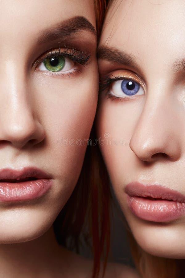 Τα όμορφα κορίτσια συνδέουν Δύο πρόσωπα των φίλων στοκ εικόνα