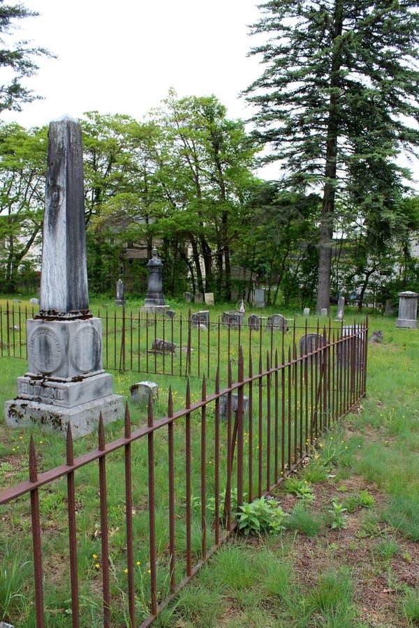 Τα όμορφα μνημεία που τέθηκαν μεταξύ άλλων ταφοπετρών, οξύδωσαν τους φράκτες και την πράσινη χλόη, νεκροταφείο Greenridge, Sarato στοκ φωτογραφία με δικαίωμα ελεύθερης χρήσης