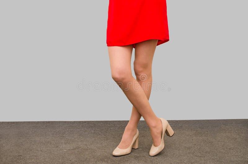 Τα όμορφα πόδια ενός κοριτσιού σε ένα κόκκινο ντύνουν στα παπούτσια που στέκονται στο πάτωμα στοκ φωτογραφίες