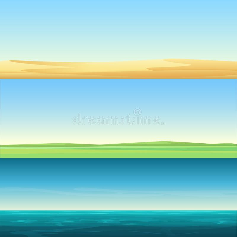Τα όμορφα minimalistic οριζόντια τοπία εμβλημάτων της άμμου εγκαταλείπουν, αγροτικός τομέας λιβαδιών και ωκεάνιο σύνολο υποβάθρου απεικόνιση αποθεμάτων