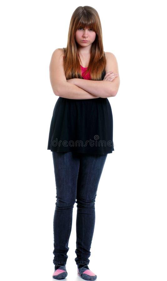 τα όπλα διέσχισαν τον έφηβό της δυστυχισμένο στοκ εικόνα με δικαίωμα ελεύθερης χρήσης