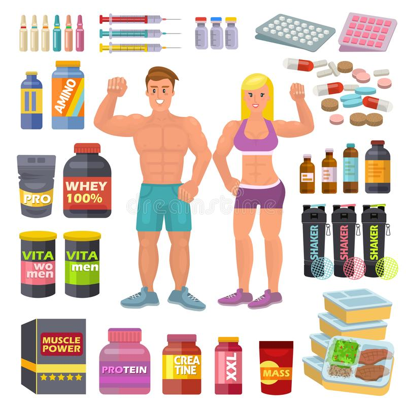 Τα bodybuilders αθλητικών τροφίμων Bodybuilding συμπληρώνουν τη δύναμη proteine και τη διατροφή διατροφής ικανότητας για το bodyb απεικόνιση αποθεμάτων