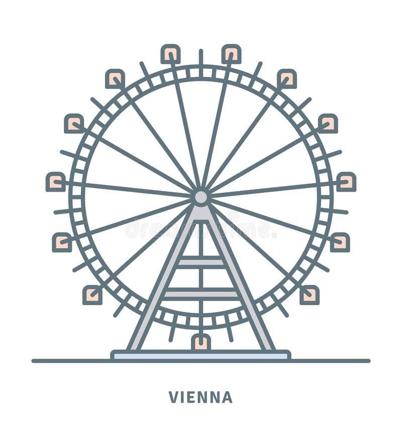 Τα ferris της Βιέννης Prater κυλούν τη διανυσματική απεικόνιση ελεύθερη απεικόνιση δικαιώματος