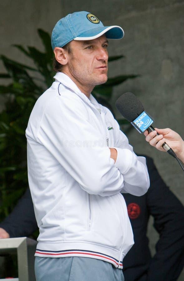 τα garros παίρνουν τα περάσώντα από συνέντευξη χαλιά Roland wilander στοκ φωτογραφία με δικαίωμα ελεύθερης χρήσης
