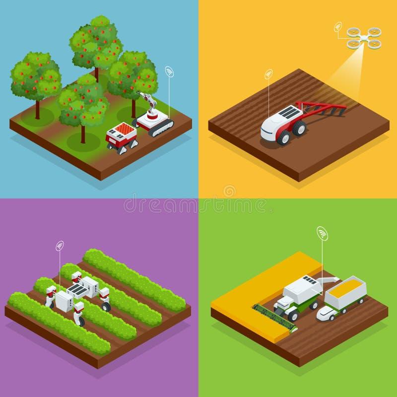 Τα Isometric αυτόματα καθοδηγημένα ρομπότ γεωργίας συγκομίζουν τα φρούτα από τα δέντρα και τα μούρα συγκομιδών, συνδυασμένος θερι διανυσματική απεικόνιση