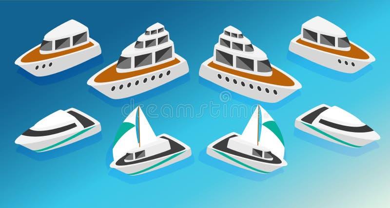 Τα isometric εικονίδια βαρκών γιοτ σκαφών καθορισμένα τη διανυσματική απεικόνιση διανυσματική απεικόνιση