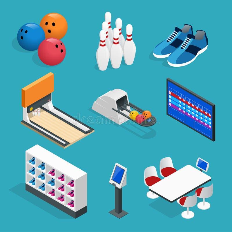 Τα Isometric ρεαλιστικά εικονίδια μπόουλινγκ θέτουν με τον εξοπλισμό παιχνιδιών, τους πίνακες καφέδων, τα ράφια για τα παπούτσια, απεικόνιση αποθεμάτων