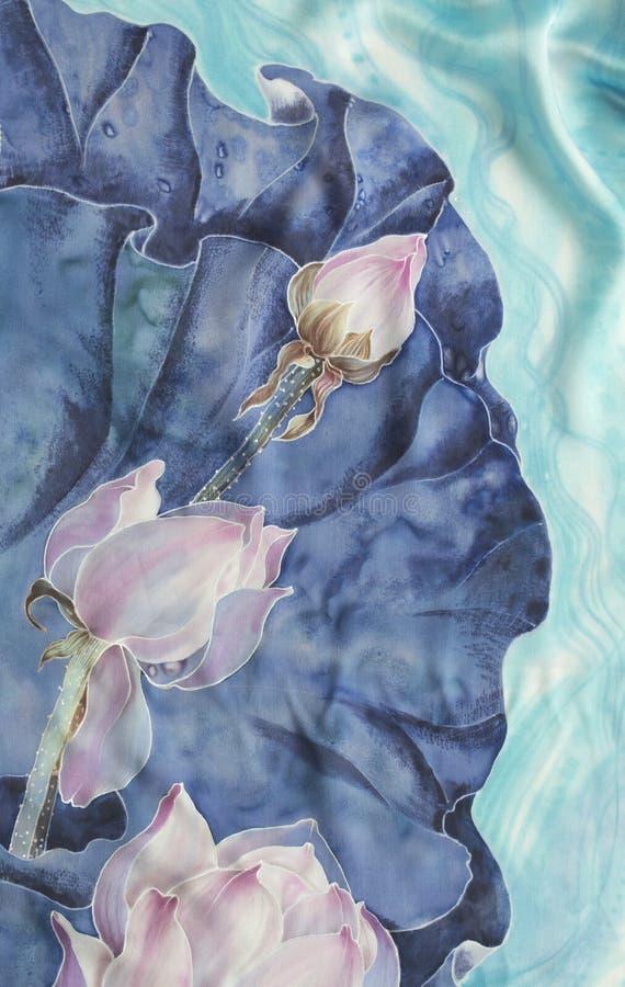 Τα lotuses bathsheba Διακοσμητική σύνθεση των λουλουδιών, φύλλα, οφθαλμοί Η χρήση τύπωσε τα υλικά, σημάδια, στοιχεία, ιστοχώροι,  ελεύθερη απεικόνιση δικαιώματος