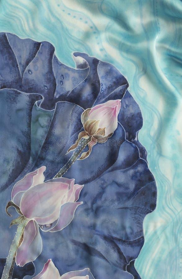 Τα lotuses bathsheba Διακοσμητική σύνθεση των λουλουδιών, φύλλα, οφθαλμοί Η χρήση τύπωσε τα υλικά, σημάδια, στοιχεία, ιστοχώροι,  διανυσματική απεικόνιση
