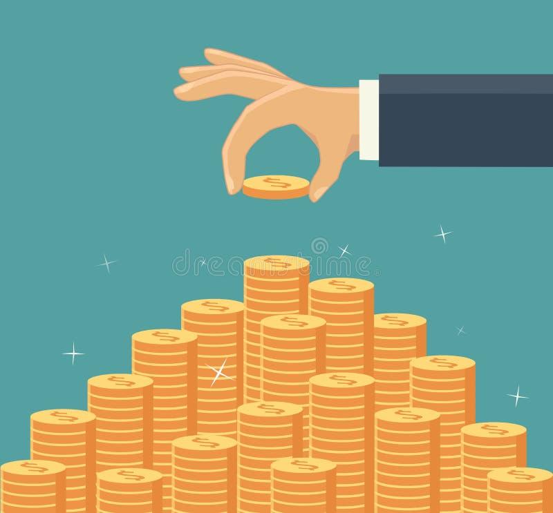 τεθειμένη χρήματα σκάλα χεριών νομισμάτων επίσης corel σύρετε το διάνυσμα απεικόνισης απεικόνιση αποθεμάτων
