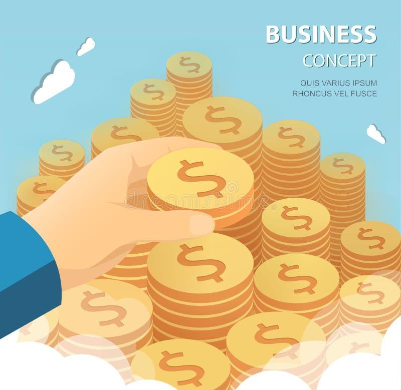 τεθειμένη χρήματα σκάλα χεριών νομισμάτων λευκό επιχειρησιακής απομονωμένο έννοια επιτυχίας ελεύθερη απεικόνιση δικαιώματος